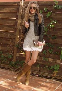 leather jacket/sweater dress/great boots/eternity scarf/aviators