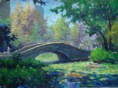 Dessin et peinture - vidéo 406 : cours gratuit de peinture à l'huile - le petit pont de pierre qui enjambe la rivière. 6