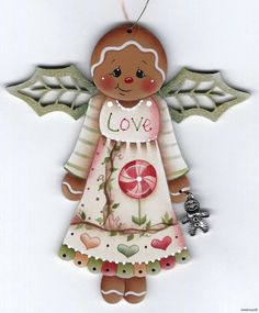 "GINGERBREAD ""Love"" Angel w/ Gingerbread Charm - Based on a Jamie Mills-Price design... handpainted by Pamela House"