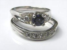 Platinum Blue Sapphire & Diamond Engagement Ring by FineJewelryArt