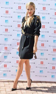 Rita Ora in Emanuel Ungaro Dress Isle Of MTV Press Conference instyle.co.uk