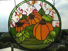 Stained Glass Pumpkin Panel  Original by CreativeSpiritGlass, $350.00
