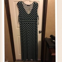 "NWT Apt 9 Maxi Dress Bought this one and the black and white one in my closet at the same time. This one is dark blue with mint stripes. I'm 5' 4"", it's a little too long for me. Apt. 9 Dresses Maxi"