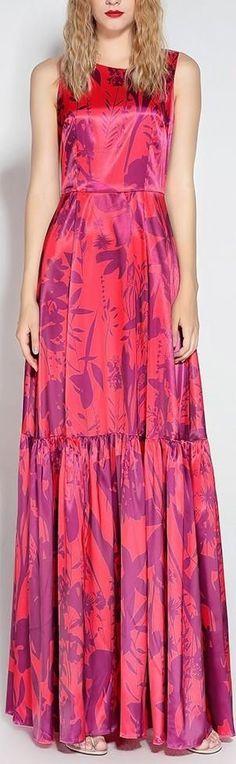 Sleeveless Printed Long Silk Pleated-Hem Dress