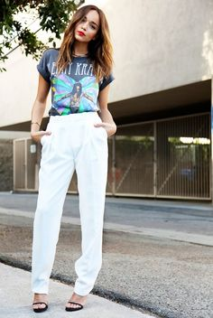 Dress up a favorite band/artist tee by tucking it into trousers and pairing it with heels. // #StreetStyle