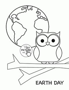 cute owl and earth planet earth day coloring page for kids coloring pages printables