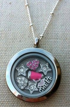 Origami Owl - Cheerleader Locket!  Host a party contact me  Sabrina Stearns Independent Designer #44379, Origami Owl at: dreamcreteinspirebelieve@gmail.com  shop at http://dreamcreateinspirebelieve.origamiowl.com