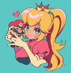 Super Mario Bros art > Princess Peach with little Mario doll > Nintendo > Video Games Super Mario Peach, Peach Mario, Mario And Princess Peach, Super Mario Brothers, Super Mario Bros Games, Super Mario Kunst, Super Mario Art, Nintendo Characters, Cute Characters