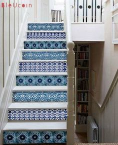 This is one of the coolest #DIY ideas I've seen in a long time: Pottery-Style Stair Riser Decals from Bluecoin! Featured in my Top Picks for #Fall #HomeDecor!
