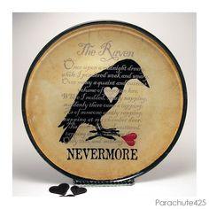 The Raven decoupage glass plate macabre home decor by Parachute425