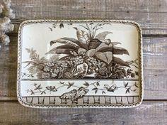Antique brown transferware platter in the Brazil by covetantiques Vintage Dishware, Aesthetic Movement, Butler Pantry, Makers Mark, Brazil Brazil, Platter, Dinnerware, Antiques, Brown