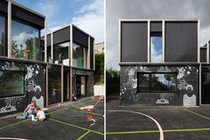 Fun chalkboard-covered passive house explores public/private space in Belgium