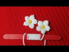 Hand Embroidery: Making Unique White Flower With Ice cream Stick / Amazing New Trick # Sewing Hack - Valentines Day Gift Ideas Embroidery Leaf, Hand Embroidery Flowers, Learn Embroidery, Hand Embroidery Patterns, Embroidery Stitches, Crochet Patterns, Modern Embroidery, Crochet Ideas, Yarn Flowers