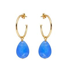 A pair of eye-catching and colourful Gold Vermeil (Sterling Silver based) earrings feature a brilliantly Blue Chalcedony Stone. Silver Earrings, Silver Jewelry, Gold Necklace, Drop Earrings, Chalcedony Stone, Rose Gold Plates, Deodorant, Ear Piercings, Annie