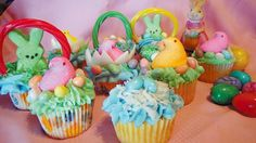 Easter Supplies | Decorate your Easter table with cute cupcakes using candy and Peeps.
