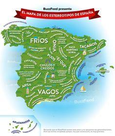 Nuestro mapa de los estereotipos españoles. | 24 mapas que te enseñan España como no la habías visto nunca