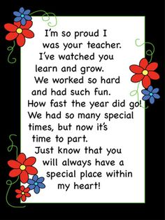 Preschool Graduation Discover End of the Year Letter from Teacher to Student Teacher Poems, Student Teacher Gifts, Letter To Teacher, Student Teaching, Student Gifts End Of Year, Gifts For Students, Teacher Presents, Parent Letters, Learning Letters