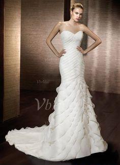 Wedding Dresses - $235.99 - Trumpet/Mermaid Sweetheart Court Train Organza Satin Wedding Dress With Cascading Ruffles (00205000464)
