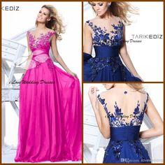Cheap Tarik Ediz Dress Evening - Discount Cap Sleeve Embroidery Blue Sheer Tarik Ediz Dress Online with $149.0/Piece | DHgate
