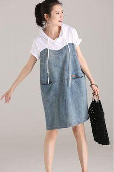 Cute Hoodie Drawstring Denim Dresses Cotton Clothes For Women Q1838