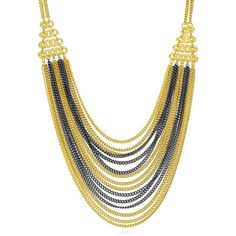 BERRICLE Two-Tone Fringe Fashion Layered Necklace ($33) ❤ liked on Polyvore featuring jewelry, necklaces, layered necklace, women's accessories, black and gold chain necklace, multi layer chain necklace, double layer necklace and black and gold necklace