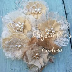 Creamy Yellow Rustic Wedding Flowers, Linen Lace, Vintage Wedding Decorations, Hair Flowers, Bridal Hair Accessories, French Country on Etsy, $24.00