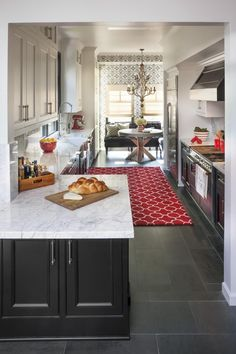 Gray Kitchens, Marble countertops, galley kitchen, | HGTV - dark but gorgeous