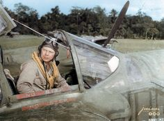 "America's ""Ace of Aces"" Lt. Richard Ira Bong, 9th Fighter Squadron, 49th Fighter Group in a P-38G Lockheed 'Lightning' in Papua New Guinea on 6 March 1943 (probably on Schwimmer Field near Port Moresby)"