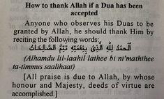 A prayer for thanking Allah when a dua has been accepted.