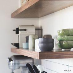 FLOATING SHELVES Walnut Floating Shelves, Floating Shelves Bathroom, Wood Shelves, Walnut Shelves, Corner Shelves, Bathroom Storage, Bathroom Ideas, Kitchen Storage, Glass Shelves Kitchen