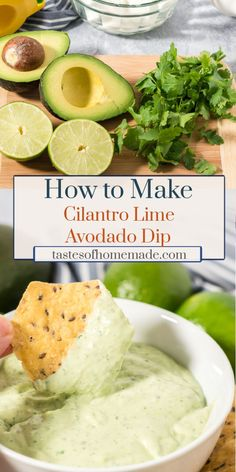 How to make your own cilantro lime avocado dip with just 4 simple ingredients. Tangy and fresh, this dip is perfect with chips, veggies or on tacos. Also great as a salad dressing. Mexican Food Recipes, Vegetarian Recipes, Cooking Recipes, Healthy Recipes, Simple Avocado Recipes, Lime Recipes, Protein Recipes, Yummy Appetizers, Appetizer Recipes