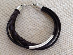 Chocolate Brown Multi Strand Leather Bracelet by urbantribejewelry