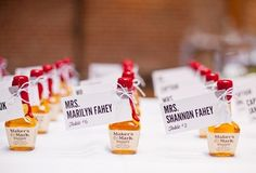 Maker's Mark mini bottles for wedding favors and seating cards in one Wedding Favours, Diy Wedding, Party Favors, Wedding Ideas, Wedding Stuff, Wedding Things, Wedding Blog, Wedding Gifts, Dream Wedding