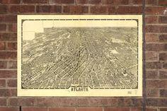 Vintage Atlanta Print, Aerial Atlanta Photo, Vintage Atlanta GA Pic, Old Atlanta Photo, Atlanta Georgia Poster, 1919