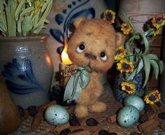 """Primitive Fuzzy Cub Teddy Bear 6"""" Doll ★ Vtg Patti's Ratties Mini Ornament OOAK"""