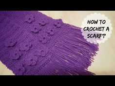 How to crochet flower stitch scarf? Learn how to crochet a simple & easy scarf using flower stitch. Work in multiples of to make the scarf more wider. Using acrylic yarn with hook. Crochet Flower Scarf, Crochet Bows, Crochet Scarves, Crochet Flowers, Learn To Crochet, Neck Warmer, Stitch, How To Make, Scarfs