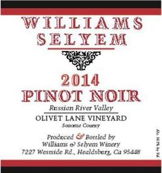 2014 Williams Selyem Pinot Noir Olivet Lane Vineyard