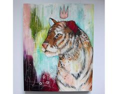 Original tiger painting whimsical boho mixed by thesecrethermit