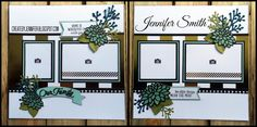 Create By Jennifer: Green Blue and Gold... Our Family Double Page Scrapbook Layout
