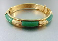 Superb Vintage Gold Filled & Jade Bracelet Bangle, The Old Junk Trunk. Vintage Jewelry. on Etsy, $60.00
