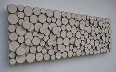 Wood Slice Wall Art  - Rustic Sculpture Abstract - Tree Branch Rings -  12x36 Made To Order - Would be neat to make out of trees that fall or have to be removed from own yard, sentimental