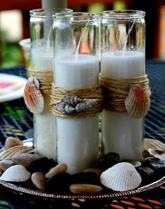 {Nautical} Beach Theme Candles - Dollar Tree Candles, twine, shells and a glue gun. Seashell Crafts, Beach Crafts, Summer Crafts, Diy Crafts, Adult Crafts, Summer Diy, Garden Crafts, Summer Beach, Diy Candles