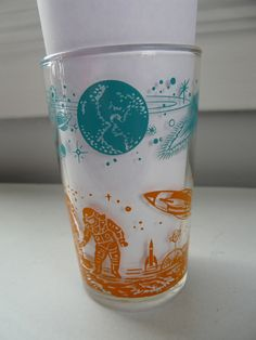 #Vintage Atomic #SpaceAge Rocket Ship Planet Moon Astronaut Drinking Glass Rare from $20.0