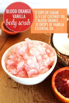 I Love Our Awesome Blood Orange Vanilla Body Scrub! It smells amazing and works like a charm to soften those rough areas! Blood Orange, Sugar, Vanilla, Scrub, Coconut, DIY Beauty