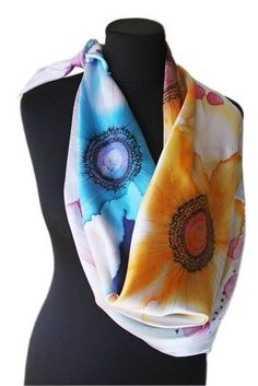 """Image of """"Blossom"""" hand-painted silk scarf by Asta Masiulyte"""