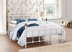 Cosenza Light Cream Small Double Bed comfort and sturdiness. Beds Specialists in UK. Cama Vintage, Vintage Stil, 4ft Beds, Leather Bed Frame, Cheap Mattress, Cream Bedding, Mattress Springs, Metal Beds, Dust Mites
