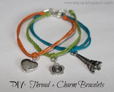 Learn how to make these simple bracelets! DIY: Thread + Charm Bracelets #diy #tutorial