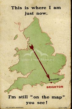⇚ Map Quest ⇛ maps & globes in history, art, craft & decor - 1912 map postcard. Brighton Rock, Brighton Sussex, Brighton England, Brighton And Hove, Vintage Maps, Vintage Travel Posters, Map Of Great Britain, Royal Pavilion, City By The Sea
