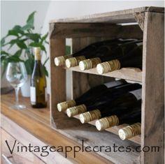 Vintage Apple Crate Wine Rack by VintageAppleCrates on Etsy, Etsy Furniture, Wine Rack Design, Wine Rack Plans, Apple Crates, Wood Wine Racks, Wine Storage, Etsy Uk, Wooden Diy, Home And Living