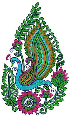 Peacock Embroidery Designs, Border Embroidery Designs, Embroidery Applique, Embroidery Patterns, Thread Painting, Fabric Painting, Cute Flower Drawing, Kalamkari Designs, Kalamkari Painting